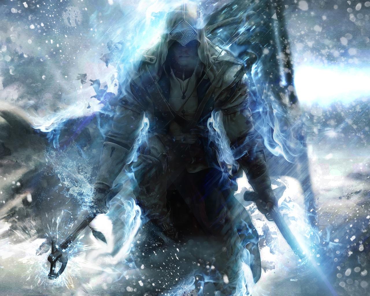 Creed Assassins Creed 3 blaue Stil Hintergrundbilder 1280x1024 1280x1024
