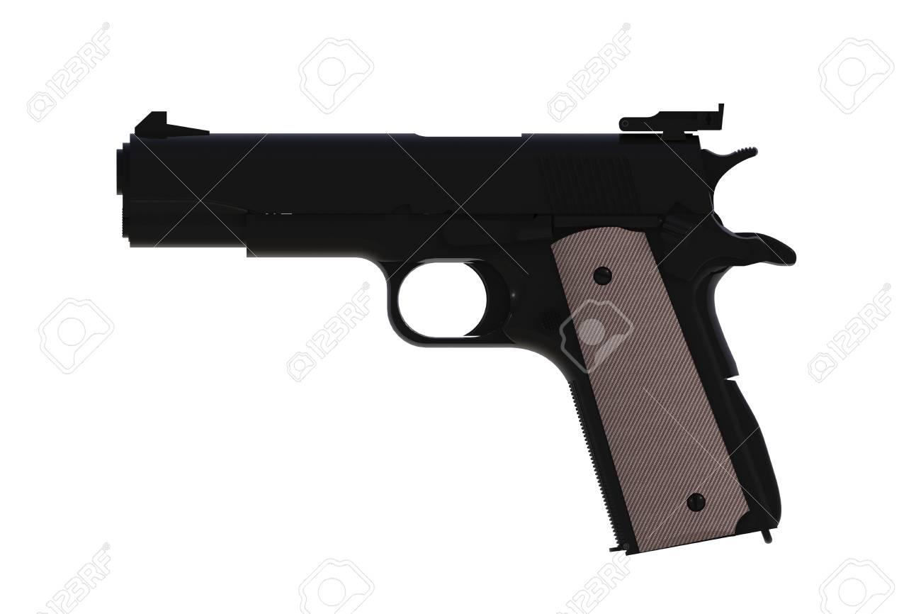 Beside View Of Black M1911 Semi automatic 45 Caliber Pistol 1300x866