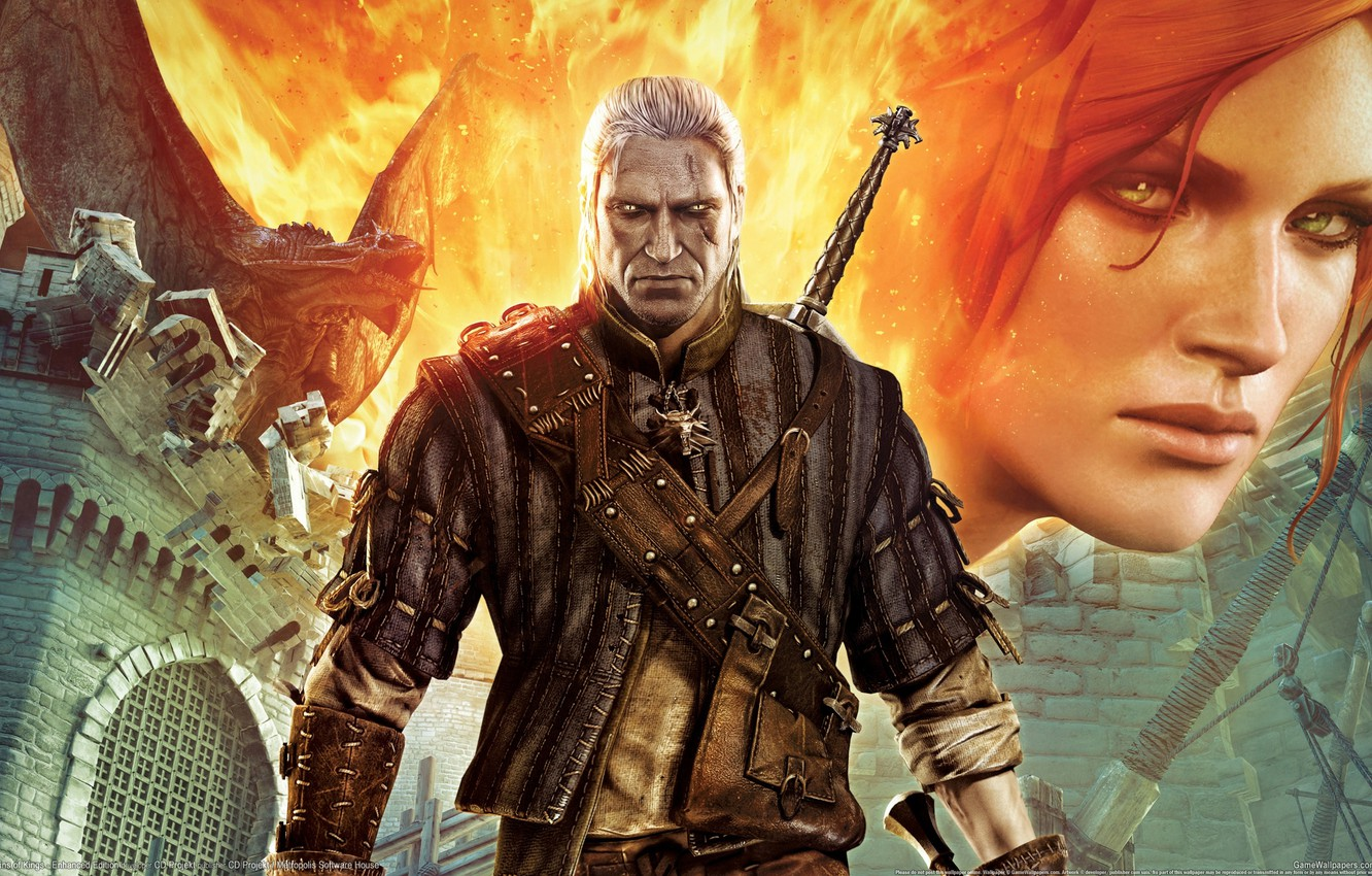Wallpaper Dragon Look Fire Castle Sword the Witcher The 1332x850