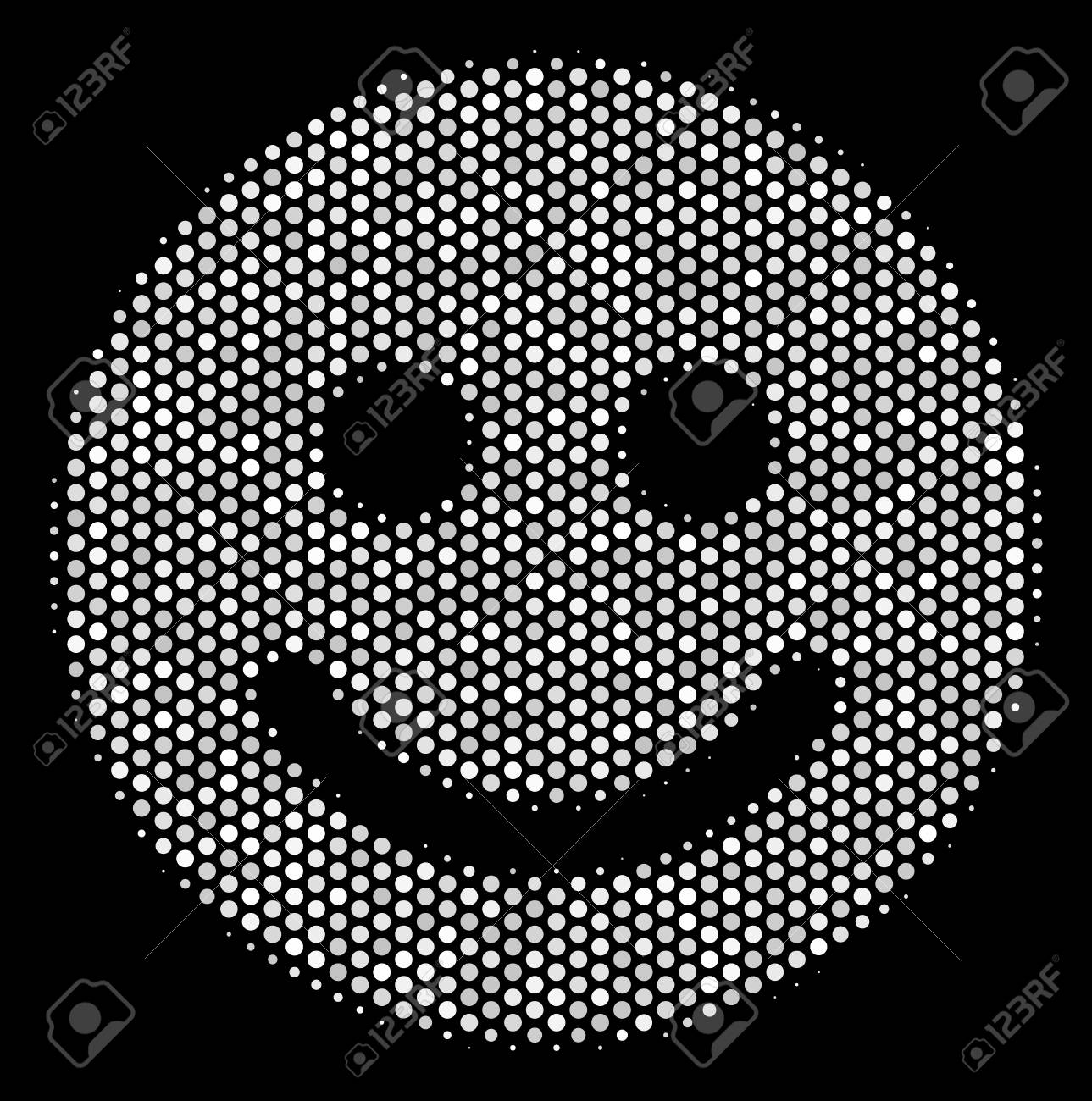 Pixelated White Glad Smile Icon On A Black Background A Vector 1289x1300