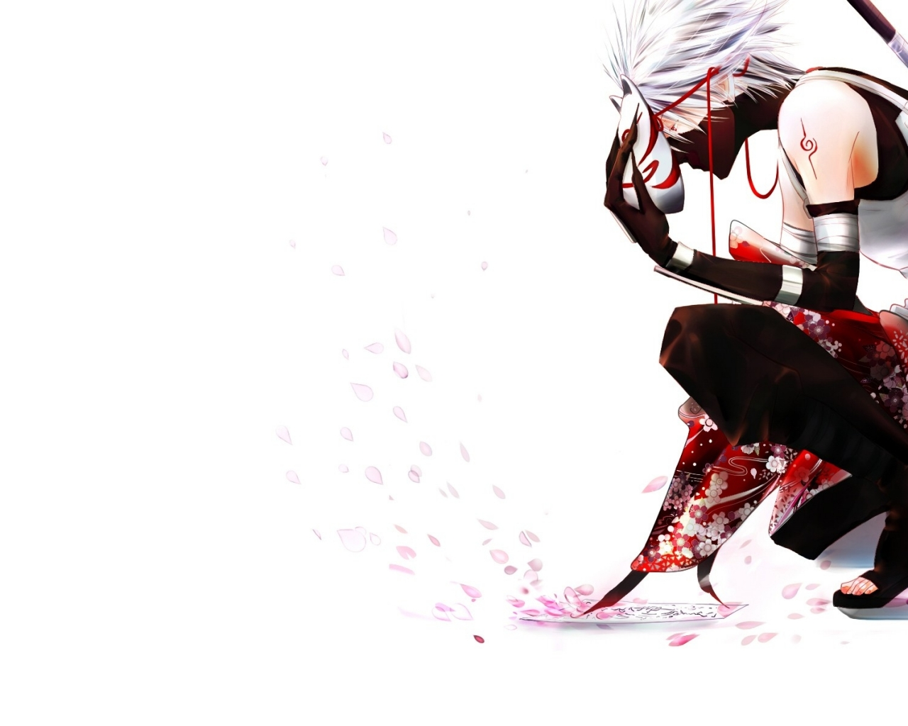 petals kakashi hatake white background anbu 1920x1200 wallpa Wallpaper 1280x1024