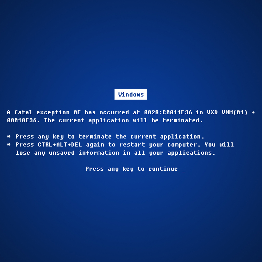 Microsoft Blue Screen of Death wallpaper All Size Wallpapers 1024x1024