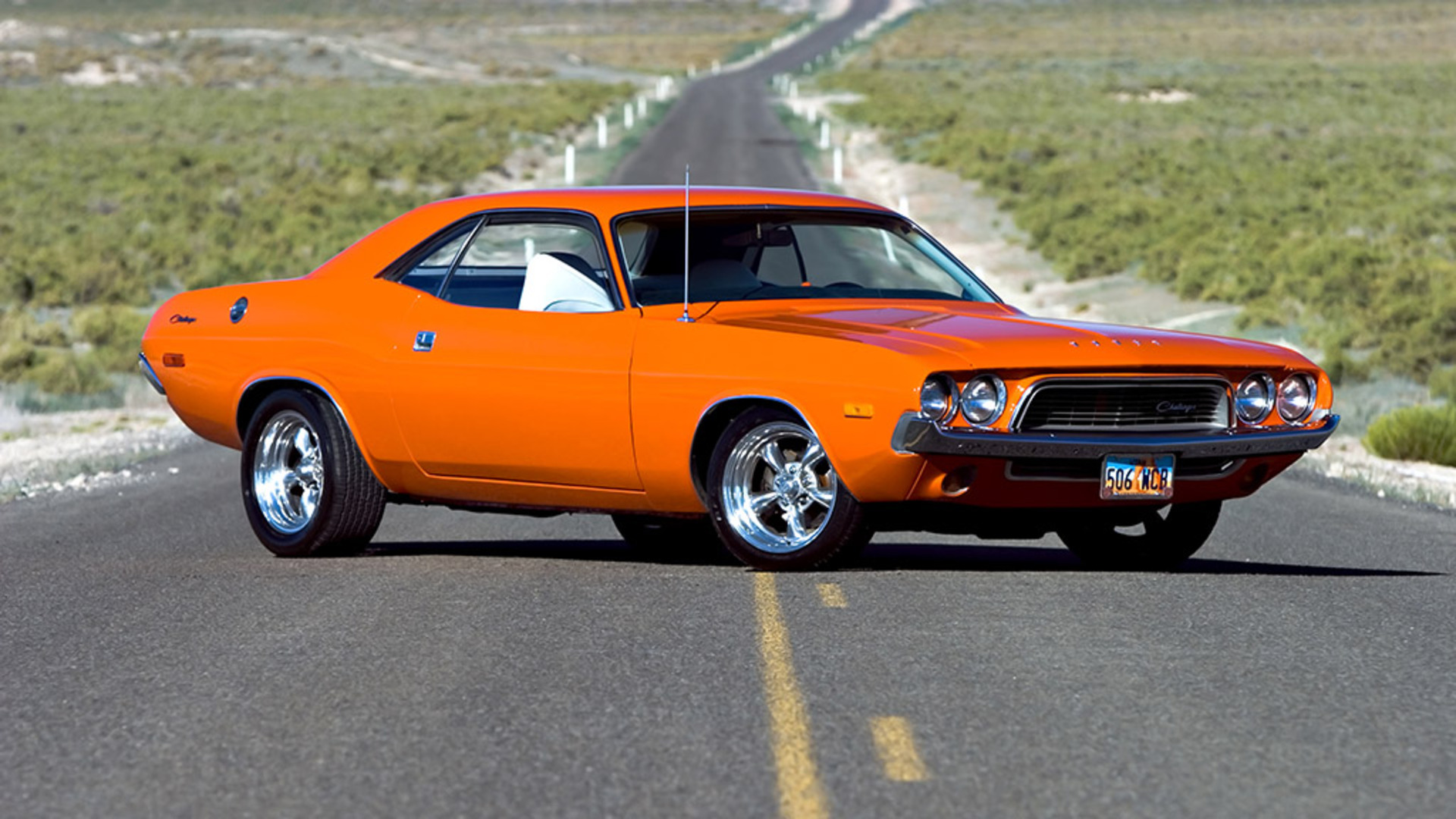 Dodge Challenger roads muscle cars orange hot rod wallpaper background 1920x1080