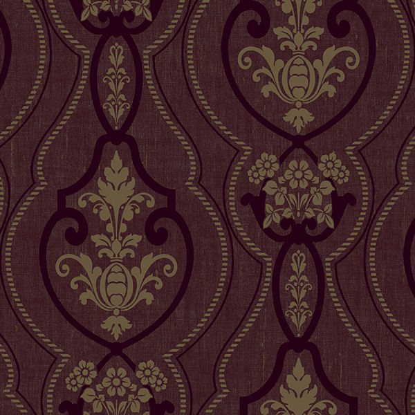 Burgundy Raised Ogee Damask Wallpaper   Wall Sticker Outlet 600x600