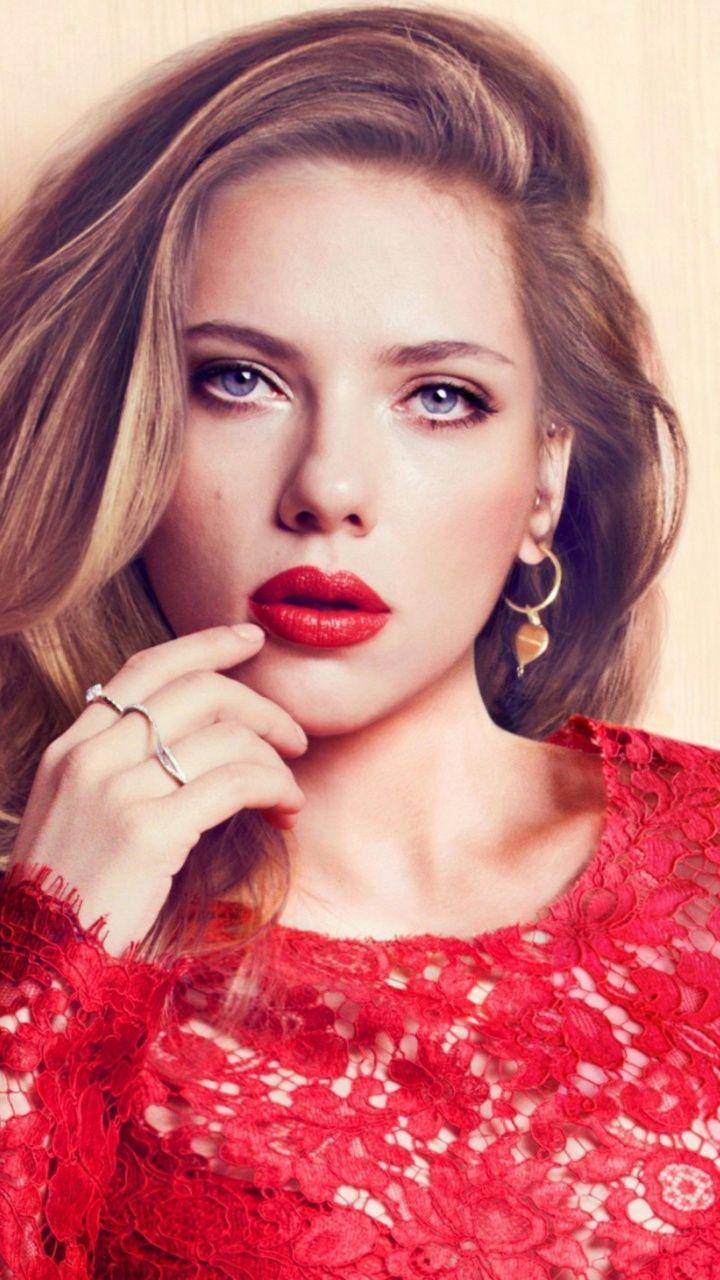 Scarlett Johansson red lips 720x1280 wallpaper Pareja in 2019 720x1280
