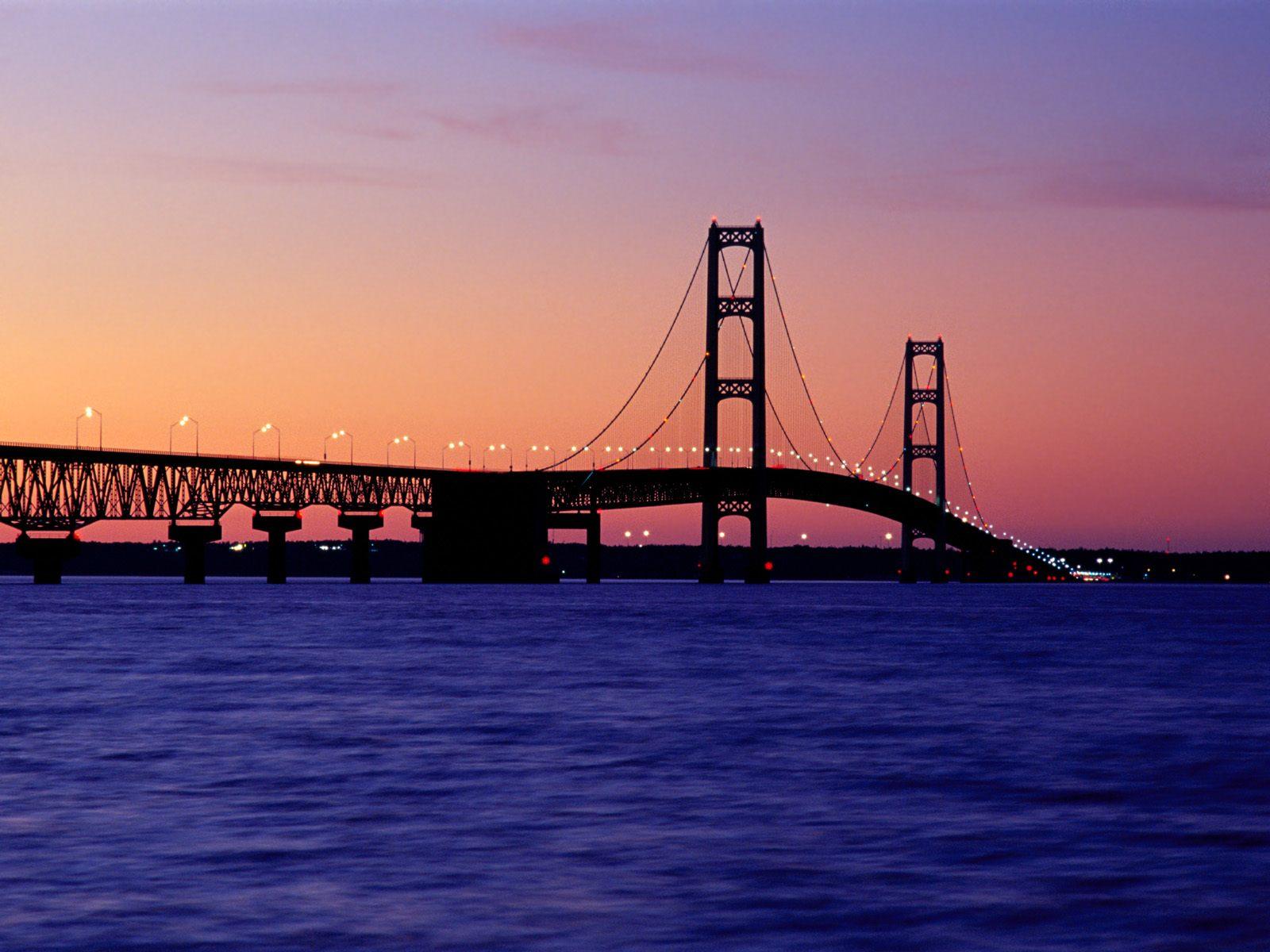 Pure Michigan   the Mackinac Bridge at sunset   Imgur 1600x1200