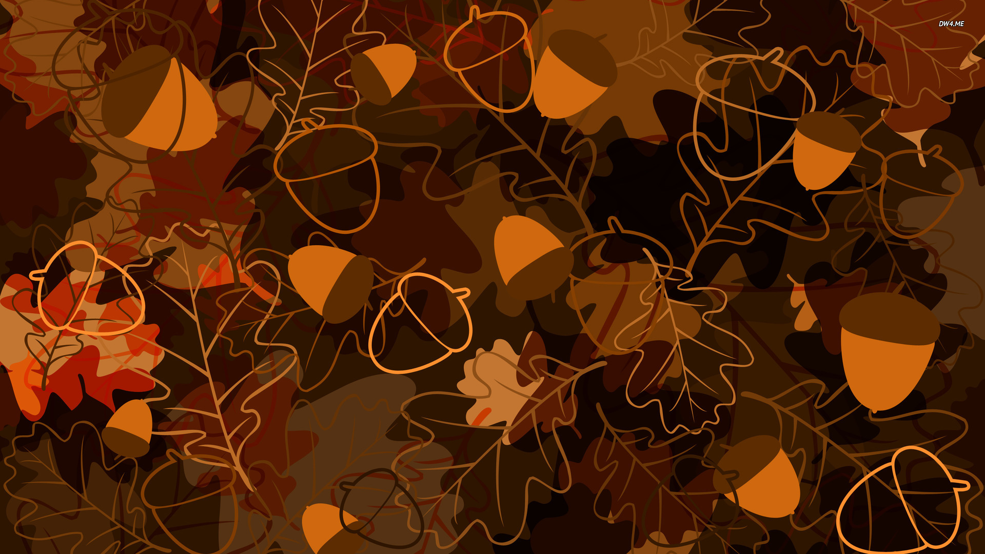 Oak leaves and acorns wallpaper   Vector wallpapers   1753 1920x1080