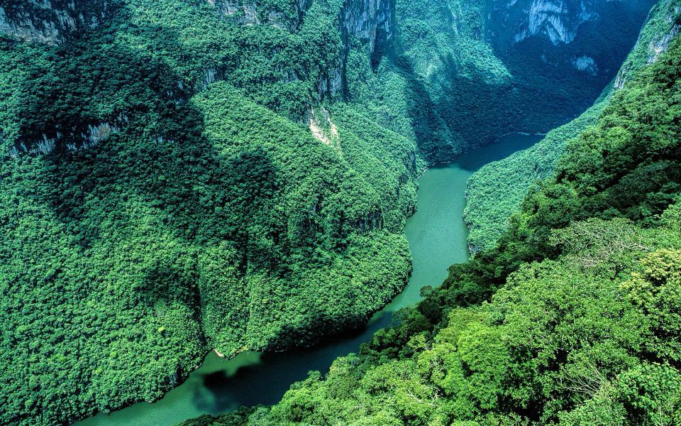 Sumidero Canyon Chiapas Mexico widescreen wallpaper Wide 960x600