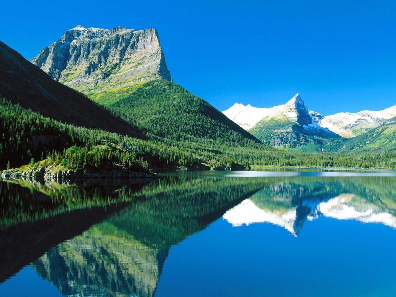 Mountains Mirrored St Mary Lake Glacier National Park Montana picture 1600x1200