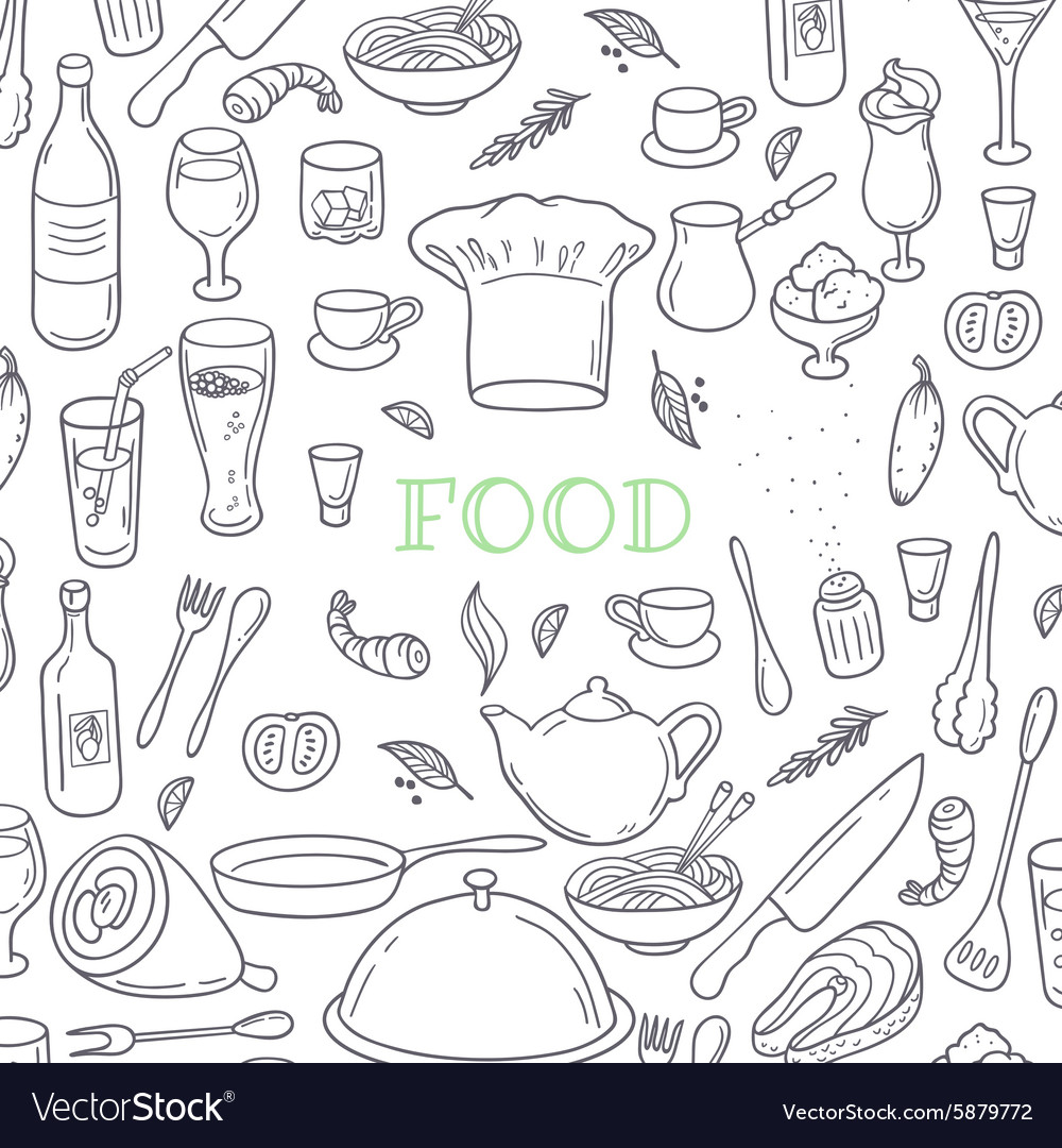 Food and drink outline doodle background Hand Vector Image 1000x1080