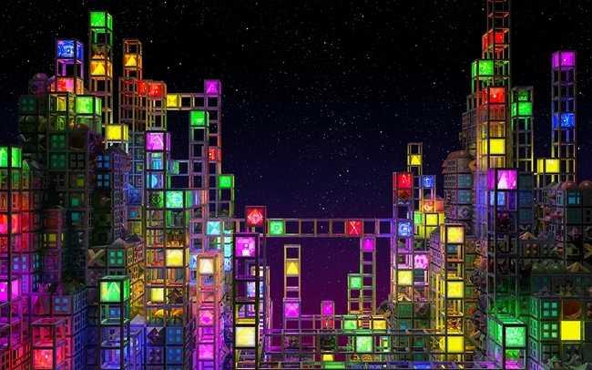 Neon Cube City [Wallpaper] 650x406