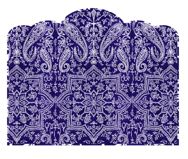 Twin Headboard Wall Decal Paisley Scalloptop Navy Blue and White 600x507