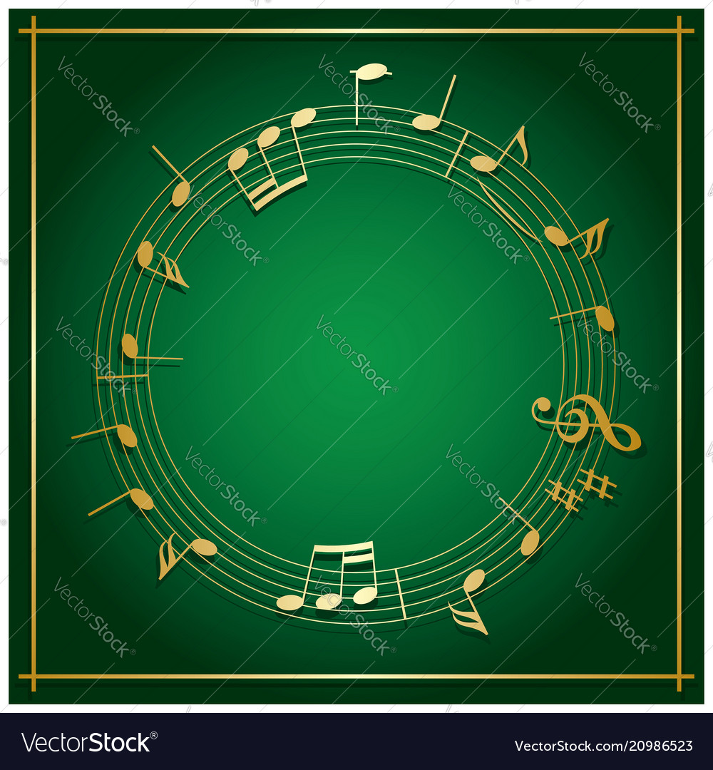 Emerald green background with round music frame Vector Image 1000x1080