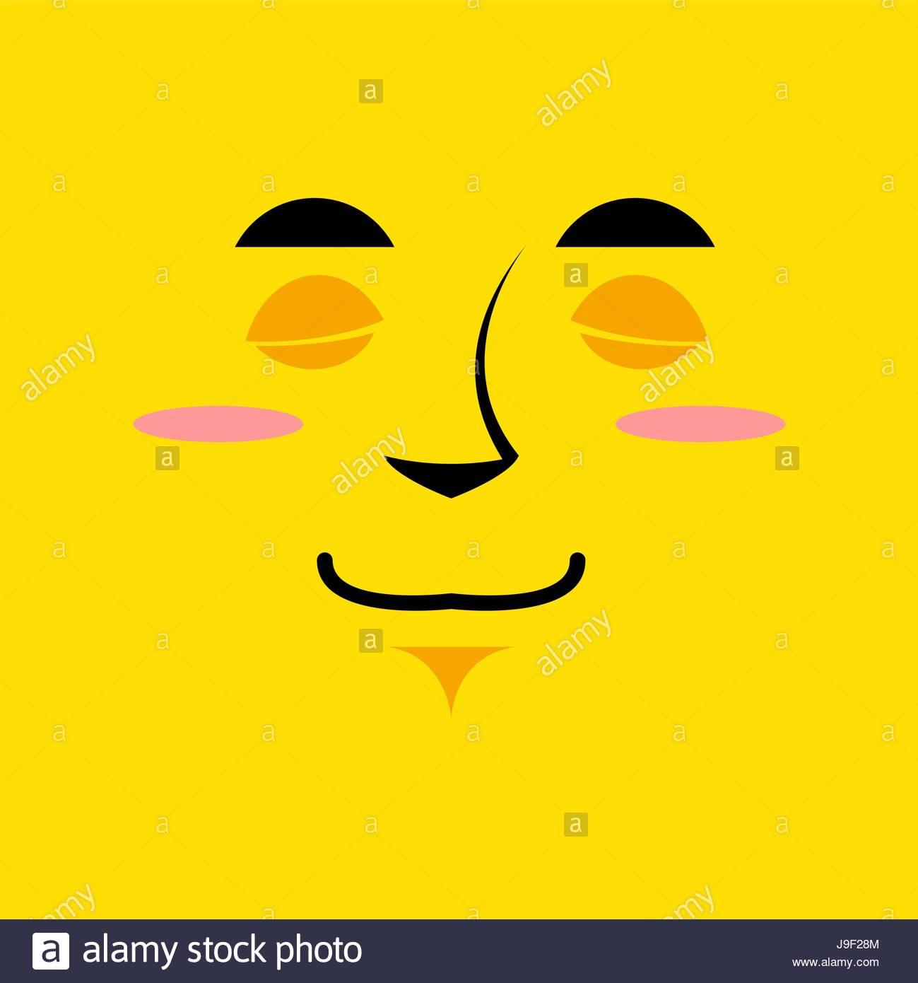 Cartoon cute face an yellow background Gaiety emotion Sleeping 1299x1390