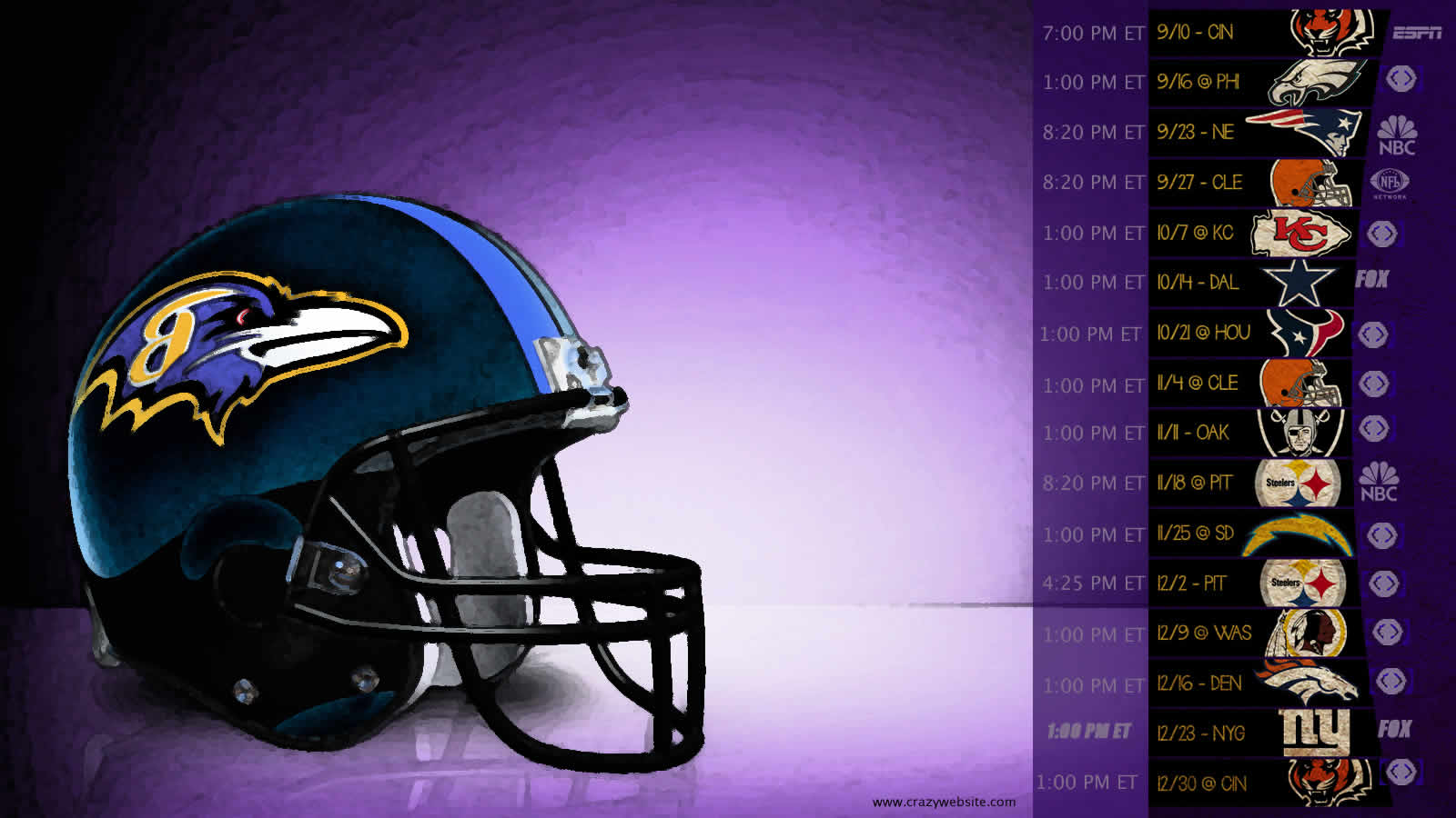 Baltimore Ravens 2012 game schedule football team wallpaper click 1600x900