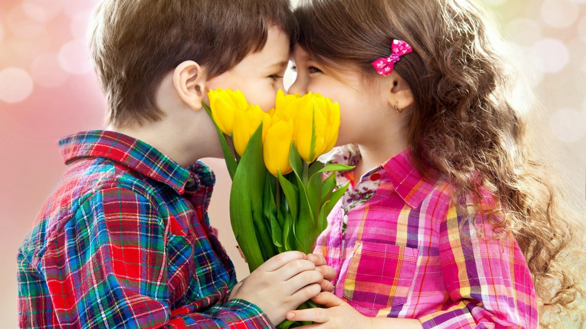 Cute Kids Girl And Boy Kissing HD Wallpaper   Stylish HD Wallpapers 1920x1080