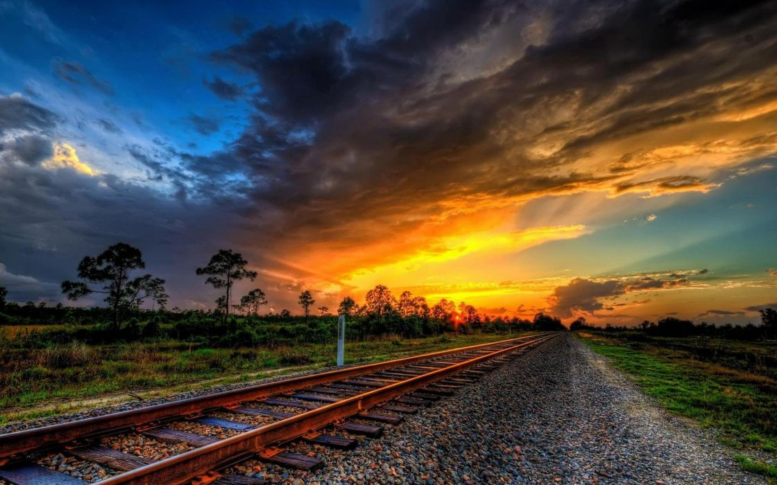 Train railroad tracks locomotive engine trains wallpaper 1120x700