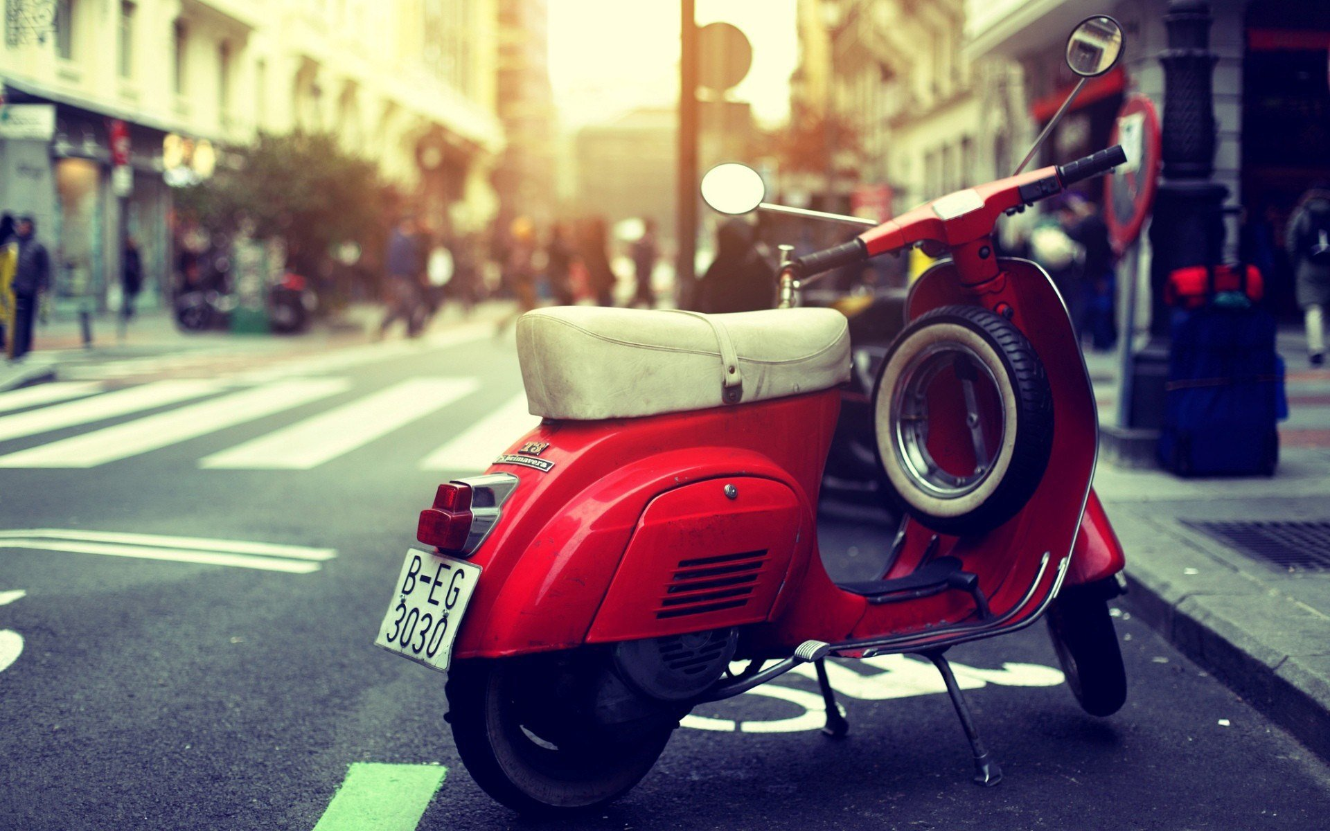 vespa scooter red street photo 1920x1200