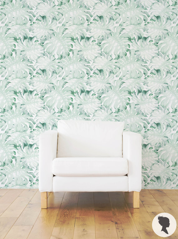 Watercolor Palm Leaves Wall Mural Removable Wallpaper by Livettes 570x766