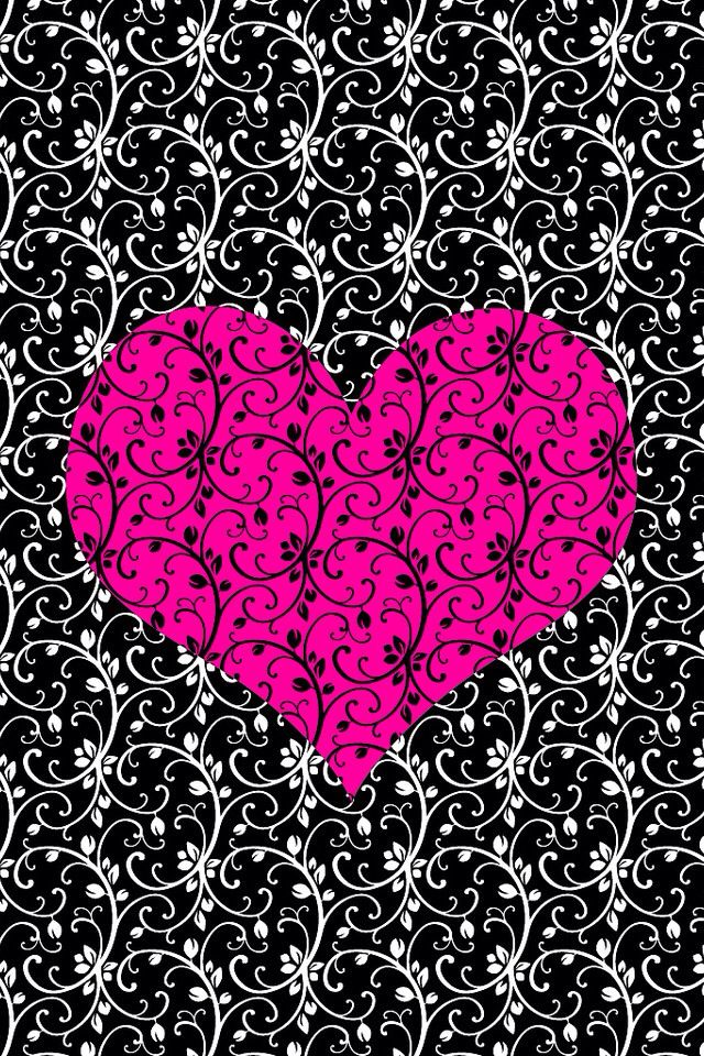Pinkblack heart Backgrounds Pinterest 640x960