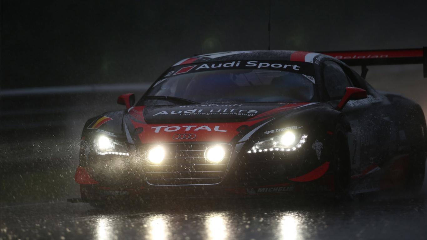 Audi R8 Sport Rain Race Wallpaper In 1366x768 Resolution 1366x768