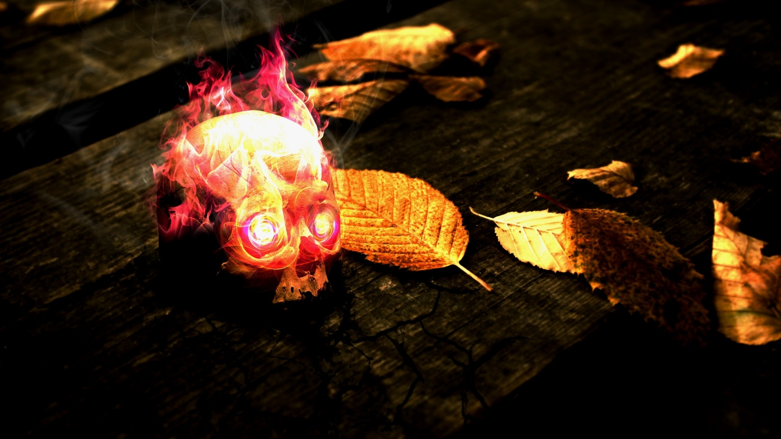 flames skulls red yellow wood fire dead leaves textures glow flaming 2560x1440