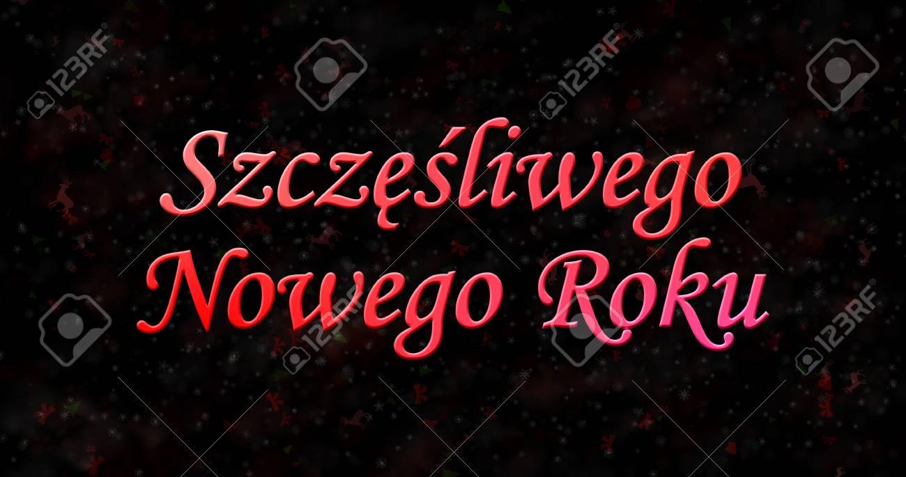 Happy New Year Text In Polish Szczesliwego Nowego Roku On Black 1300x685