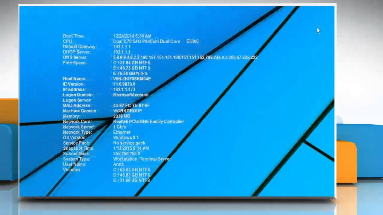 How to show system hardware and software information on Windows 1280x720