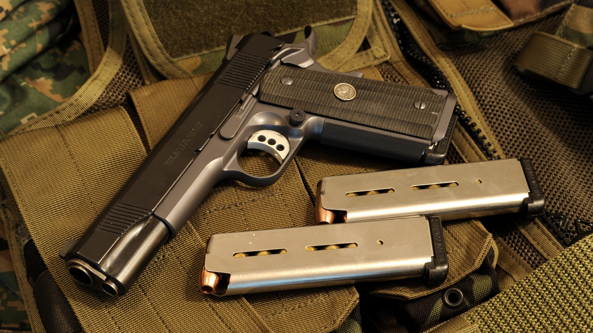 pistols guns ammunition M1911 Wilson Combat Wallpapers 1920x1080