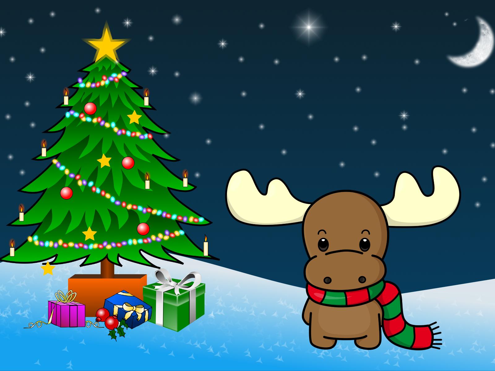 Cute Deer and Christmas Tree Exclusive HD Wallpapers 6040 1600x1200