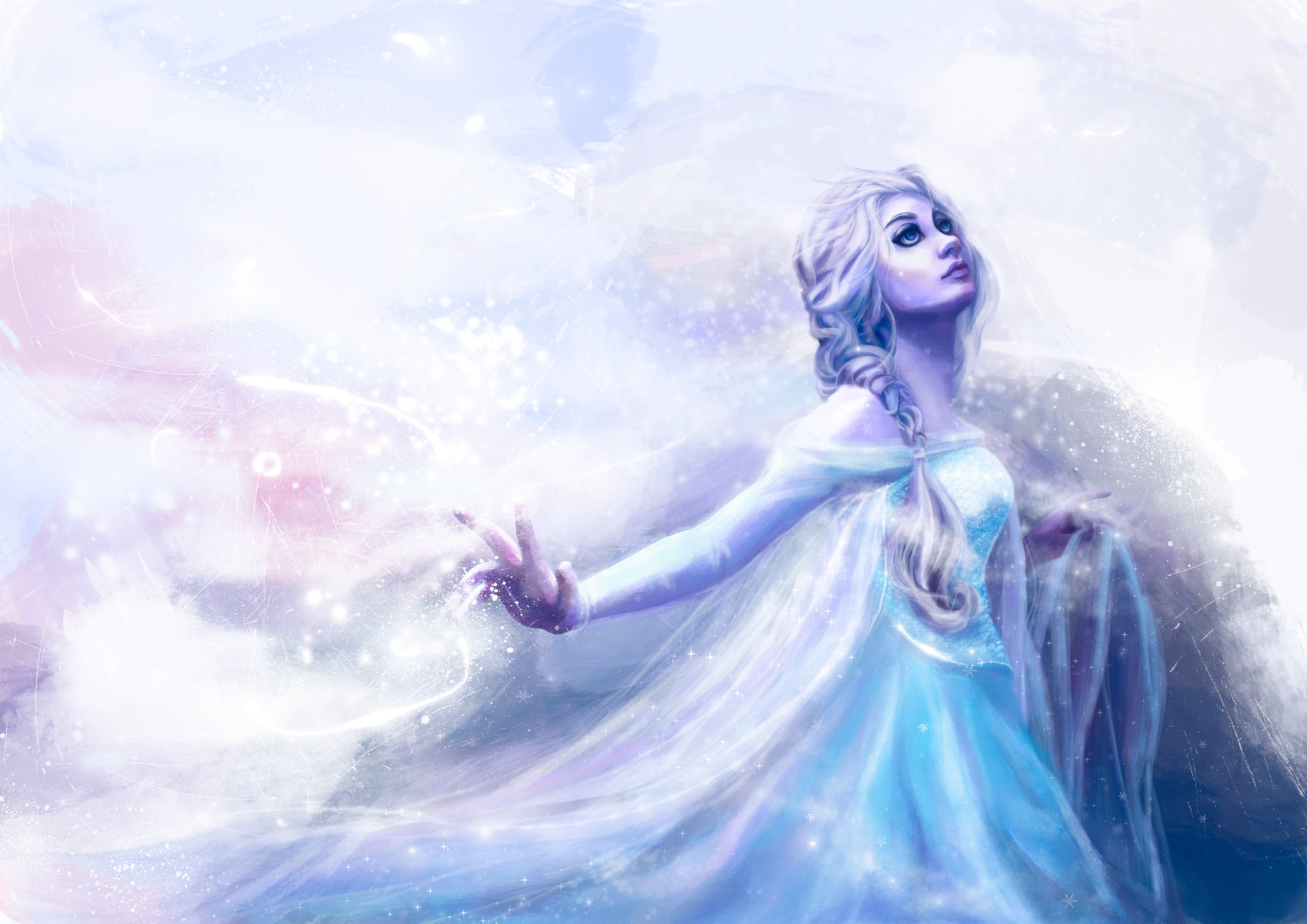 disney frozen snow queen elsa fantasy girl artwork mood wallpaper 3007x2126