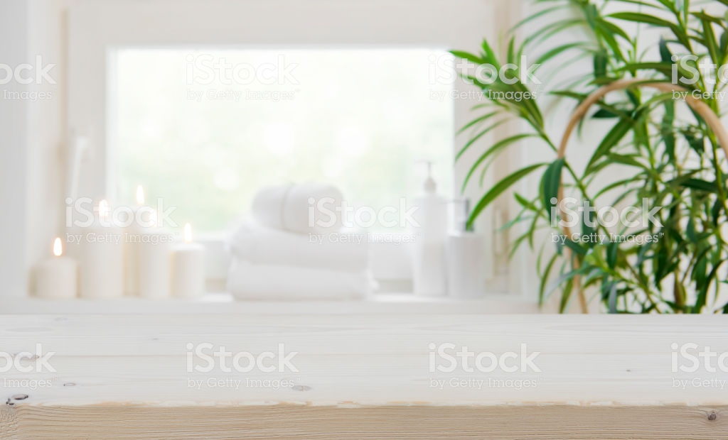 Wooden Tabletop With Copy Space Over Blurred Spa Window Background 1024x620