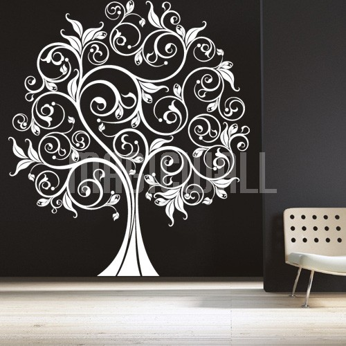Home Vinyl Decals Floral Swirly Tree   Wall Decals Stickers 500x500