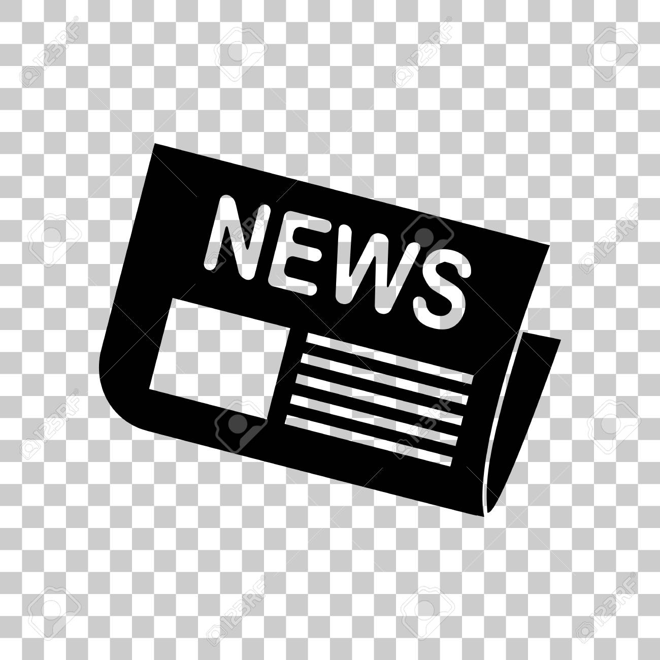 Newspaper Sign Black Icon On Transparent Background Royalty 1300x1300