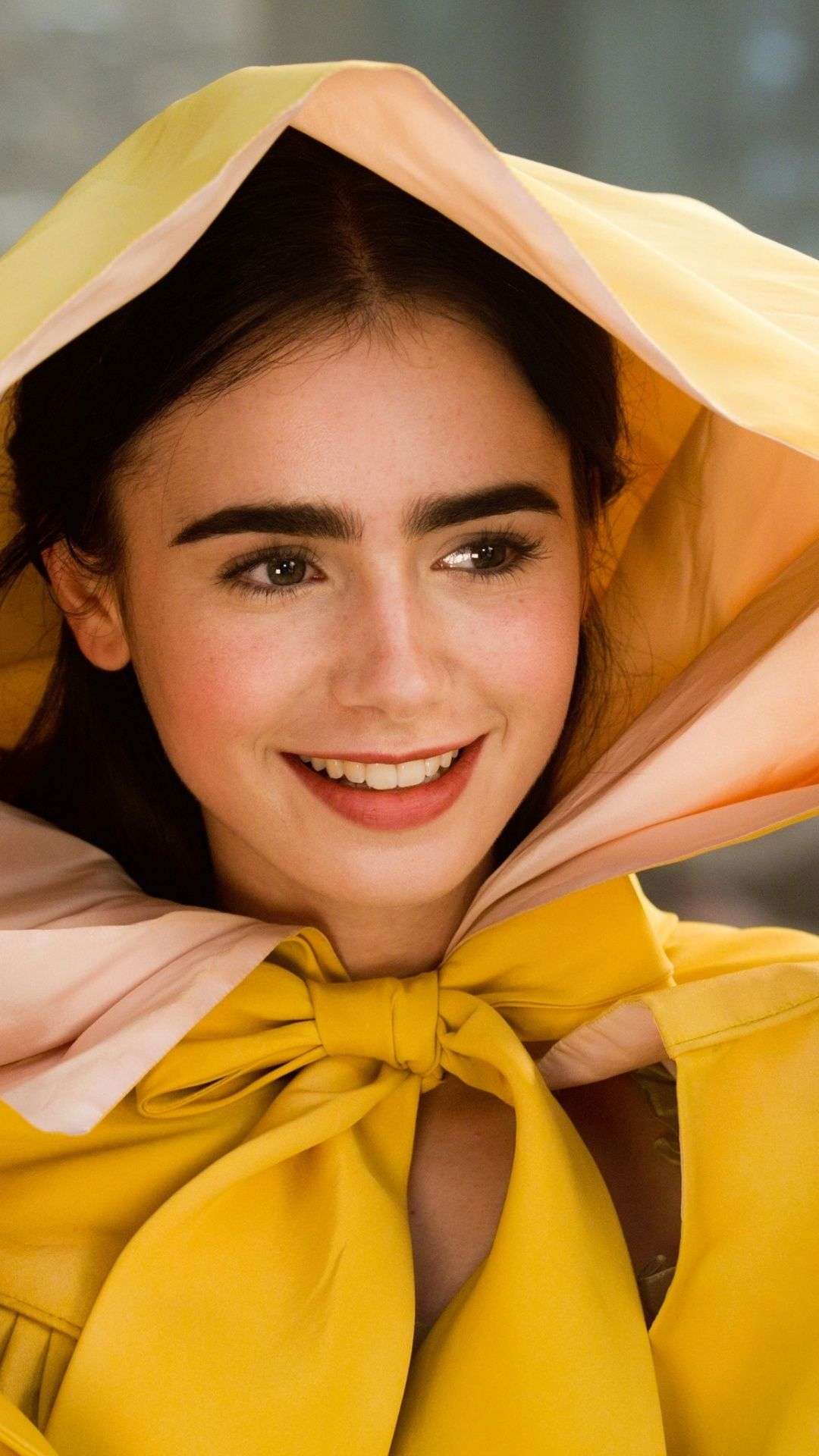 Smile beautiful Lily Collins 1080x1920 wallpaper lily collins 1080x1920