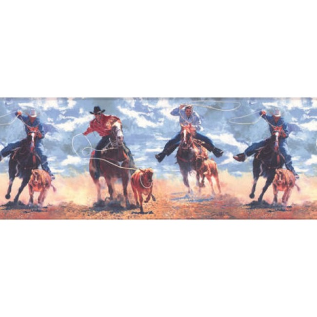 Home Western Cowboy Roping Riding on Sky Blue Wallpaper Border 650x650