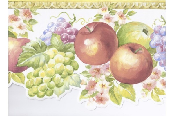 Home Yellow White Molding Fruits Floral Wallpaper Border 600x400