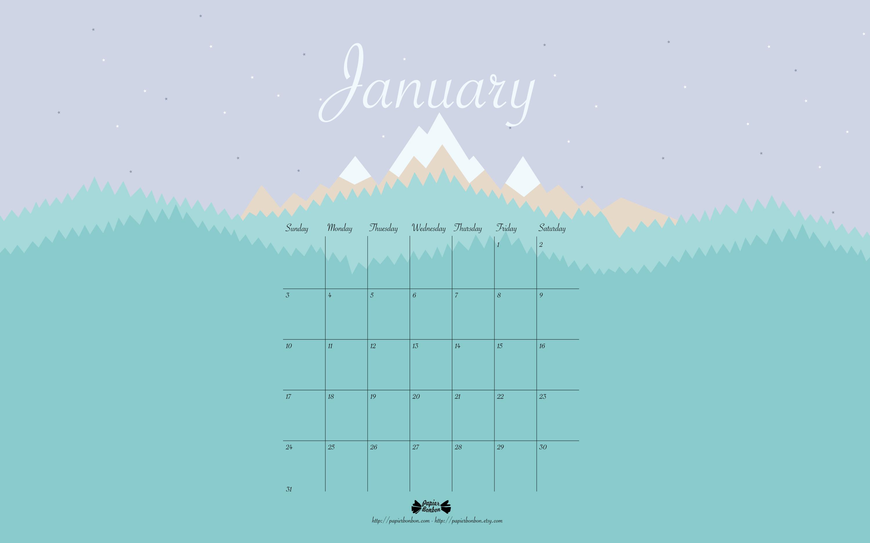 January 2016 Printable calendar   Papier Bonbon 3000x1875