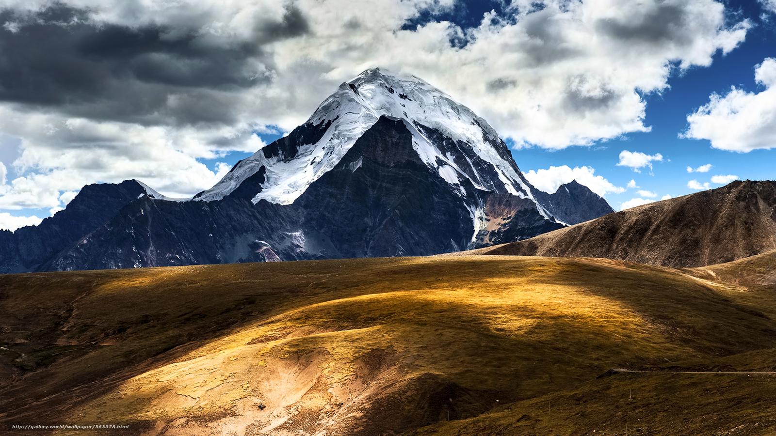 wallpaper China Tibet Mountains clouds desktop wallpaper 1600x900