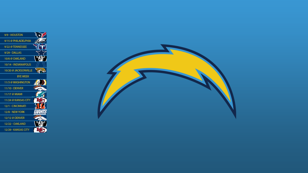 San Diego Chargers 2013 Schedule Wallpaper by SevenwithaT on 1024x576