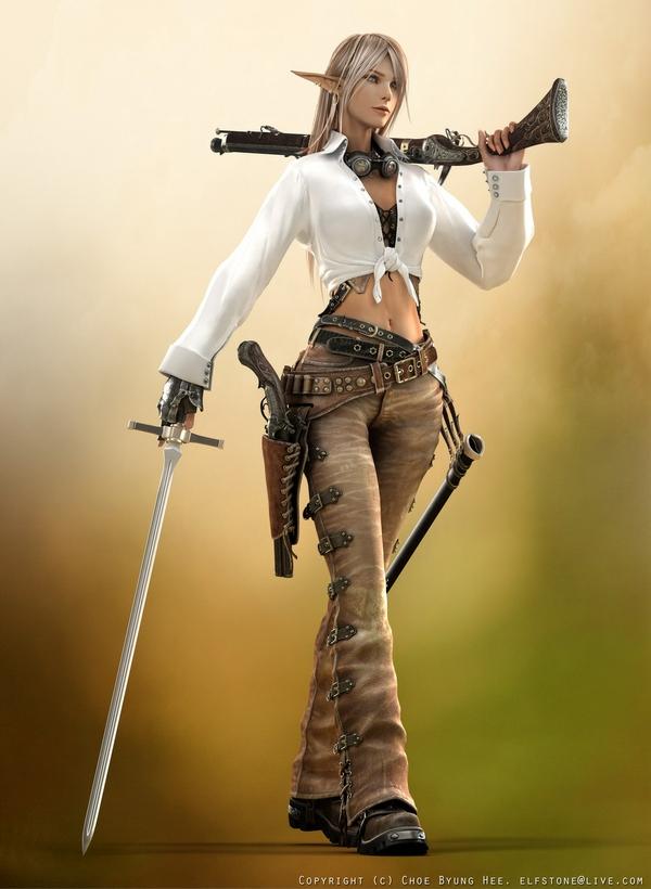 women pirate cgi weapons elves 3d girls swords 1024x1401 wallpaper 600x820