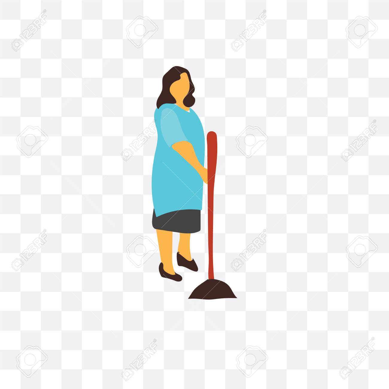 Sweeper Vector Icon Isolated On Transparent Background Sweeper 1300x1300