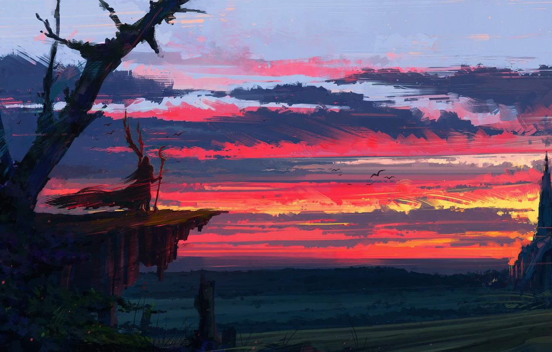 Wallpaper fantasy twilight sky landscape sunset clouds 1332x850