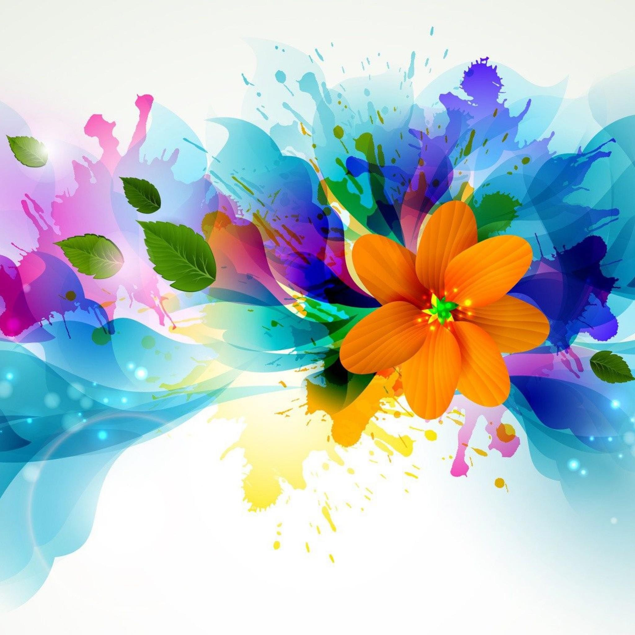 Modern Art Wallpaper: Abstract Flower Wallpaper