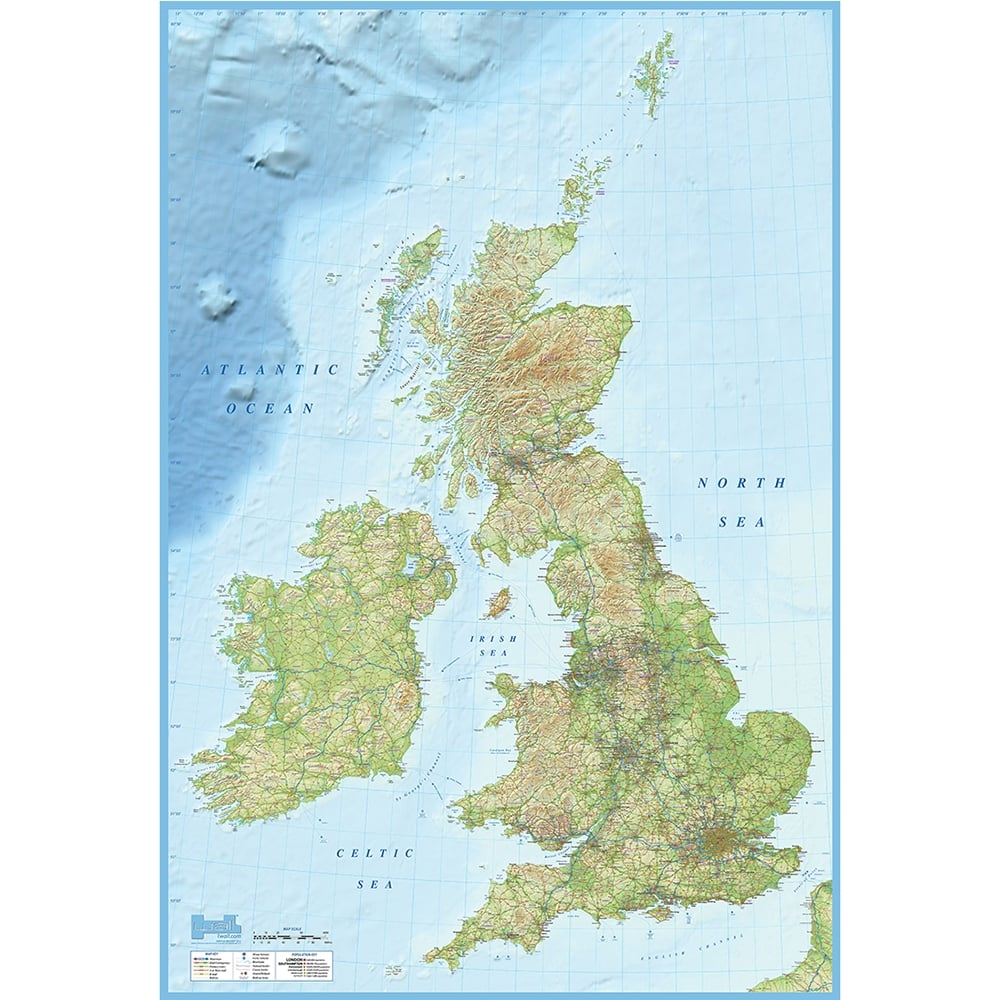 British Isles Map Feature Wall Wallpaper Mural 158cm x 232cm 1000x1000
