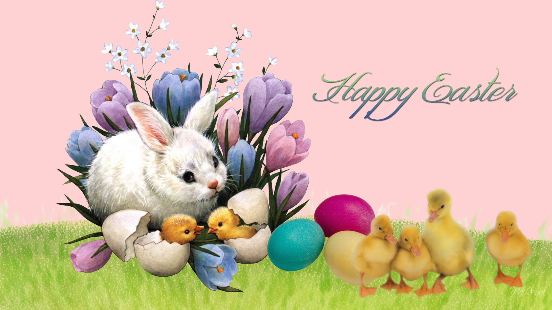 Bunny and Chick Easter Wallpaper 1920x1080