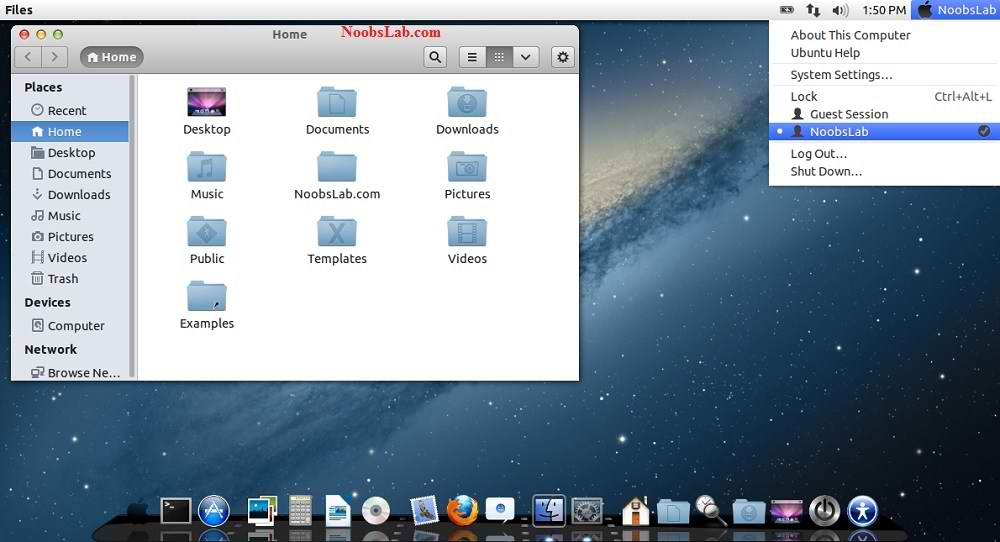 Mac OS X Theme for Ubuntu 1304 Raring Ringtail12101204Linux Mint 1000x542