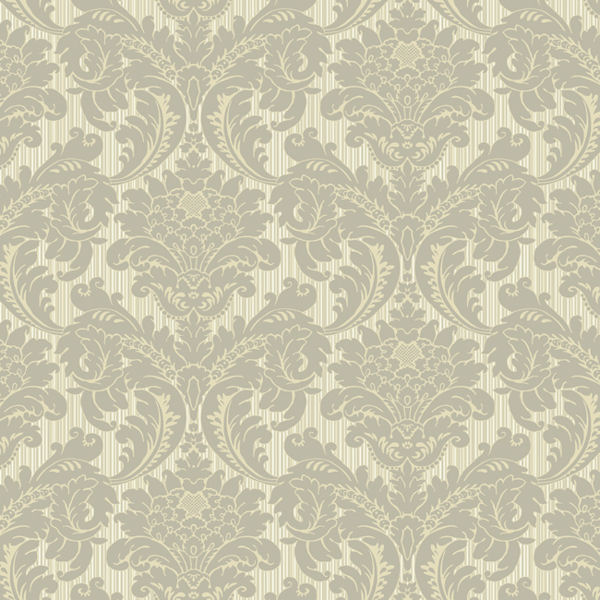 Grey and Tan Strie Flat Damask Wallpaper   Wall Sticker Outlet 600x600