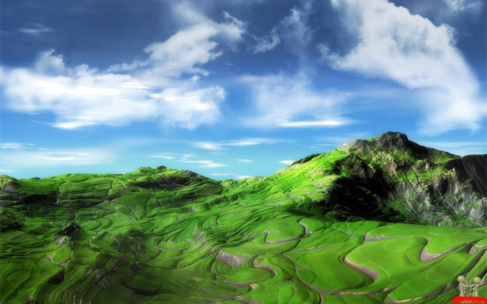 Amazing 3D Green Mountain Wallpaper E Entertainment 1680x1050