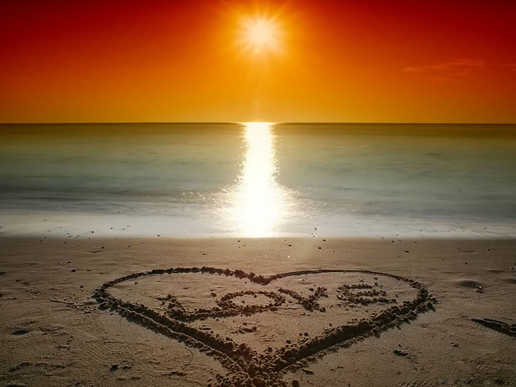 Beach Love Sunset   the sand love sunset at beach   Beach Love Sunset 1024x768